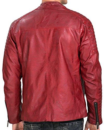 Red Bridge Jacke Herren Biker Kunst- Lederjacke R-41451W Redbridge Rot