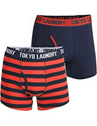 Tokyo Laundry Mens Etty Two Pack Cotton Rich Boxer Shorts Trunks Underwear