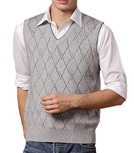 894beb0c08e000 DD.UP Herren Business Pullunder Slim Fit Vest Stricken V-Ausschnitt Argyle  Muster Wolle