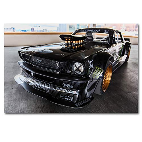WDQTDW Leinwanddruck 1965 Mustang Drift Tuning Muscle Car Wall Art Bild Poster Leinwand Kunstdrucke Kunst Gemälde Für Wohnzimmer Einrichtung