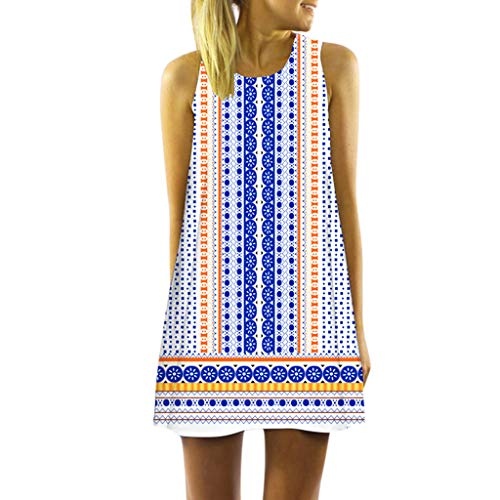 Zottom Hot Summer Damen ärmelloses Rundhalsausschnitt Elegant Print Weste Mini-Kniekleid(r-Weiß,X-Large)