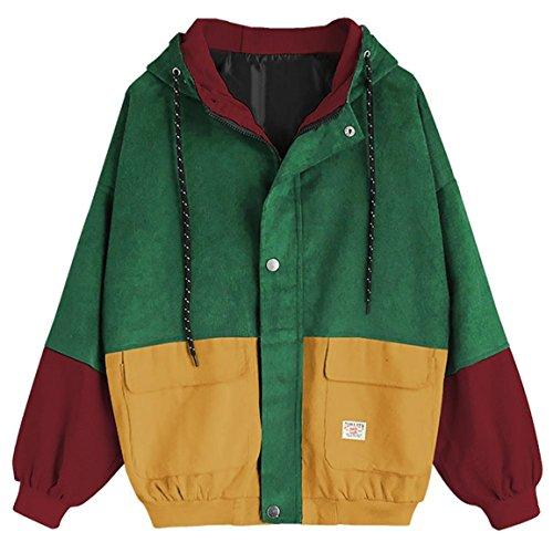 Moonuy,Damen Long Sleeve Hoodies, Damen Cord Patchwork Oversize Zipper Jacke Windbreaker Crop Mantel Lässige Mantel für Party, Beach Damen Mädchen Sweatshirt (Gelb, EU 44 / Asien 3XL)