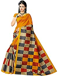 Floral Trendz Women's Bhagalpuri Silk Printed Saree With Blouse Piece.(Bhagalpuri 749_Yellow_Free Size)