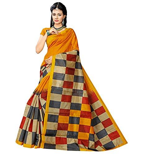 Floral Trendz Women\'s Bhagalpuri Silk Printed Saree With Blouse Piece.(Bhagalpuri 749_Yellow_Free Size)