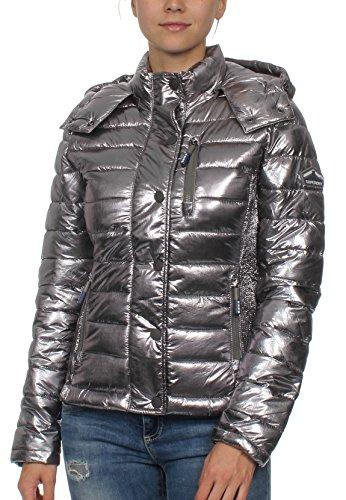 Superdry Jacke Damen FUJI SLIM DBL ZIP MULTI JACKET Silver Foil, Größe:M (Fuji Jacke)