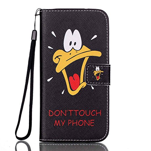 Nancen Apple iPhone 7 / 8 hülle, Flip Case Wallet Cover with Stand Function, Folio Bookstyle Handytasche Soft Silikon Bunte Muster Lederhülle Tasche PU Leder Slim Backcover Shell Handyhülle. Donald Duck - don't touch my phone