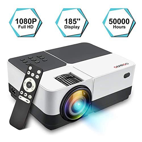 Proiettore Portatile, GEARGO Mini Videoproiettore Full HD 1080P 2800 Lumen, Home Theater Multimediale Supporta HDMI x2, VGA, SD, USB, AV, Compatibile con Amazon Fire TV / XBOX / iPad / Mobile