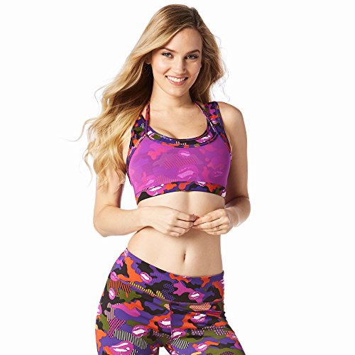 Zumba Fitness Damen Less Mesh More Party Bra Frauentop, Purple Power, XS (Capri Spandex Shorts)