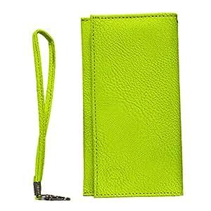 Jo Jo A5 G8 Leather Wallet Universal Pouch Cover Case For Yu Yureka Plus Parrot Green