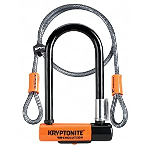 Kryptonite Evolution Mini 7 con 4' Cable de Lazo U-Lock Kripto Flex Doble para Bicicleta - Naranja y Negro