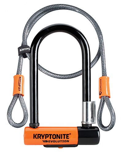 Kryptonite Evolution Mini-7 mit KFlex (120cm) Fahrradschloss, Orange, 120 cm