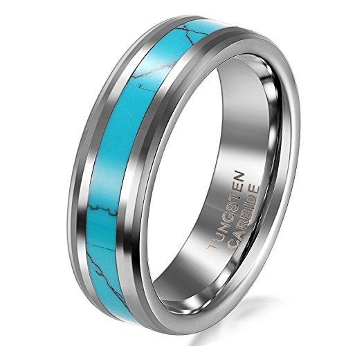JewelryWe Schmuck Wolframcarbid Damen-Ring Synthetische Türkis Inlay 6mm Bandring Eheringe Verlobungsringe Größe 51