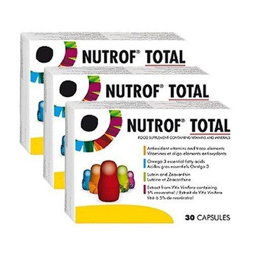 Nutrof Total 90 Kapseln Nahrungsergänzungsmittel für gesunde Augen (3 Monate Zubehör) - Extrakt Antioxidantien-formel