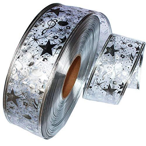 Berrose-2 Meter Silber Heißprägen Band Pentagramm Weihnachtsbaum Dekoration Weihnachten Geschenk Paket Band Masking Tape Set, dekoratives Washi mit dekorativem Design, Craft für DIY Basteln