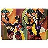 Densy Tapis de porte de peinture à l'huile Art Femme africaine lavable en machine Paillasson Tapis de salle de bain Décor de cuisine Zone Tapis/Tapis de sol 59,9x 39,9cm
