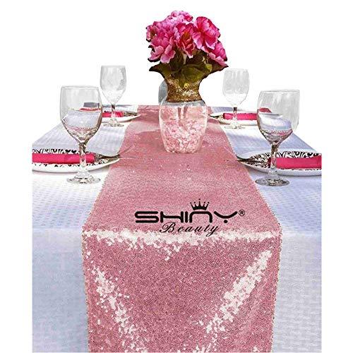 shinybeauty 12x 183cm Pailletten Tischläufer rosa gold, glitzernden Pailletten Leinen, wie Party Dekoration perfekt für Head Tisch oder Sweetheart Tisch