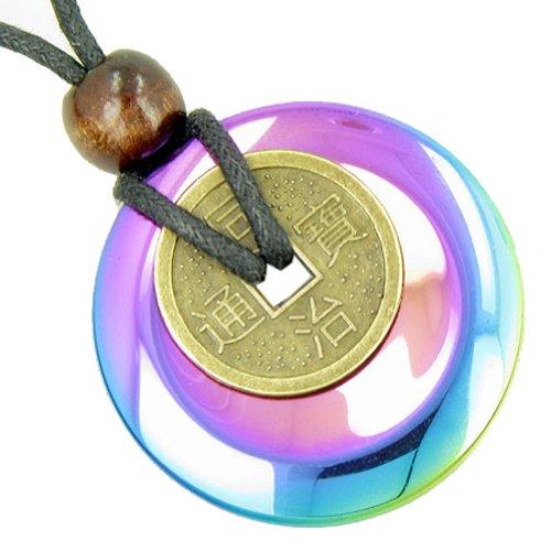 Grande Ciondolo amuleto moneta fortunata collana in Happy Simulated hemalyke-hematite Gem Donut