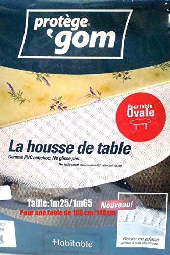 Protège table gomme ovale élastiqué 1m25x1m65 pour une table de1mx1m40