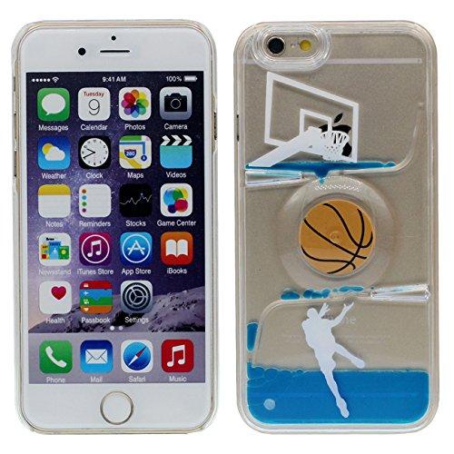 Apple iPhone 6 6S 4.7 inch Coque Protection Case, Unique Rotatif Balle Désign Eau Liquide Style Rigide Dur Transparent Housse de protection bleu