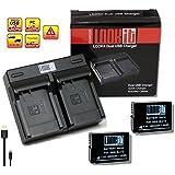 LOOKit Set - inkl. Dualladegerät + 2x LOOkit Akku BLC12 (1050mAh) für Panasonic Lumix DMC G81 FZ2000 G70, FZ300 FZ1000 G70 GX8 mit RESTLAUFZEITANZEIGE