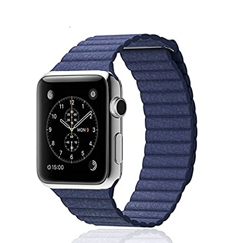 AWStech Apple Watch Band 38mm, MojiDecor Series 1 & Series 2 Strap, Blue Genuine Leather Watchband Replacement Loop Magnet Lock for Sport &