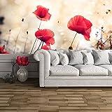 azutura Rote Mohnblumen-Blumen Wandbild Blumenweinlese Foto-Tapete Wohnzimmer Dekor Erhältlich in 8 Größen Groß Digital