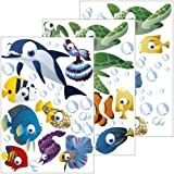 Wall Stickers Under The Sea the World is Full of Colour Fish/Fish/Ocean for Children's Room 75 Piece Set Can Also Be Used as a gift