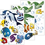 Wandsticker Unterwasserwelt / Fische / Ozean - Wandtattoo für Kinderzimmer / Kinder / Badezimmer (Junge oder Mädchen) - 75-teiliges Set auch als Geschenk