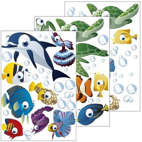 Lot de 75 stickers muraux décoratifs pour chambre d'enfant sur le thème de l'océan