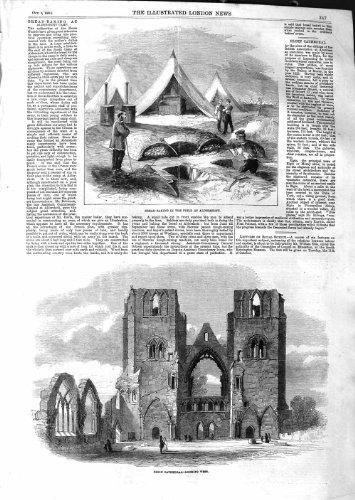1859 CATHÉDRALE ECOSSE d'ELGIN de BREAD-BAKING ALDERSHOTT [Cuisine et Maison] par original old antique victorian print