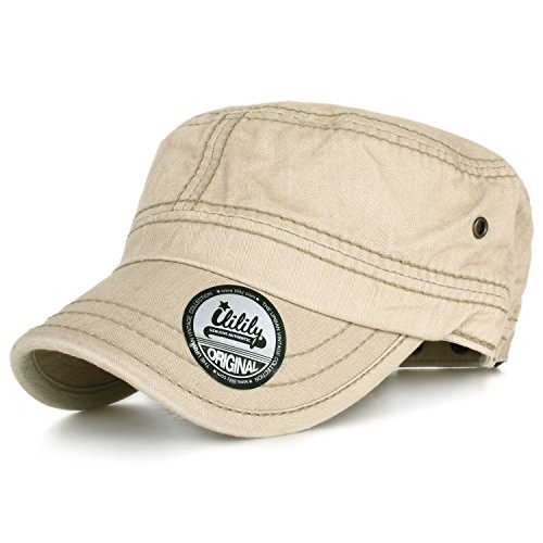 Color Stripes Snap (ililily Simple Plain Solid Color Washed Cotton Military Cadet Flat Top Army Cap(cadet-606-5))
