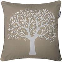 Funda de cojín con diseño de árbol, 100 % algodón, 43 cm x 43 cm, 100% algodón, natural, 17