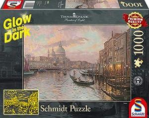 Schmidt Spiele Puzzle 59499Thomas Kinkade, en Las Calles de Venecia, Glow in The Dark, Puzzle de 1000Piezas, Multicolor