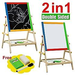 Tinkertonk Child Children Kids 2 In 1 Black White Wooden Easel Chalk Drawing Board