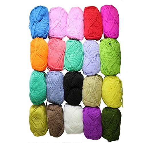 Nuovo 3 stratti Pacco da 20 x 25g Gomitoli di Lana Per Lavoro a Maglia Filo Acrilico - Mix di Colori Assortiti di Curtzy TM