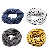 4 PCS Infinity Scarves for Kids, Richaa Star Winter Cotton Neck Warmer for Boys Girls Multi Use O-Ring Collar Scarfs Hat Bandana
