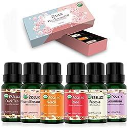 Huiles Essentielles Aromathérapie Naturelle 100% Pures 6 * 10ml, ESSLUX Huile Essentielle Bio pour Diffuseurs(Néroli, Géranium, Rose, Freesia, Thé noir, Fleur de prunier)