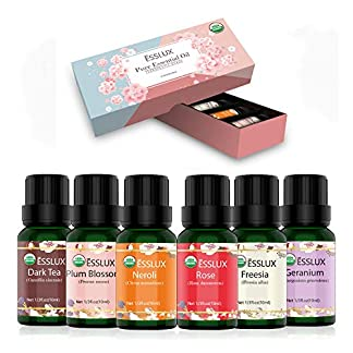 Aceites Esenciales Aromaterapia ESSLUX Flores Aceites Esenciales Para Humidificador Difusor Aromaterapia Top 6 Set 100% Natural Puro(Neroli, Geranio, Rosa, Fresia, Té oscuro, Flor de ciruela)