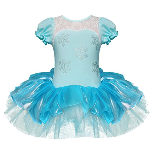 Tiaobug Mädchen Kleid Ballettkleid Prinzessin Kostüm Tanzkleid Ballettanzug Party Festzug Cosplay Weiß+Blau 92-98 (Elsa Und Anna Tutu Kostüm)