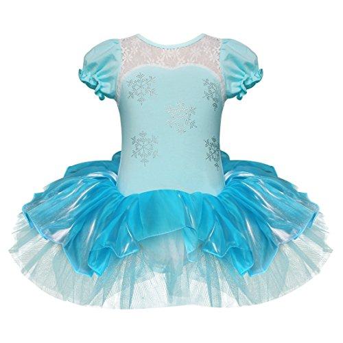 Elsa Tanzen Kostüm - Tiaobug Mädchen Kleid Ballettkleid Prinzessin Kostüm Tanzkleid Ballettanzug Party Festzug Cosplay Weiß+Blau 98-104