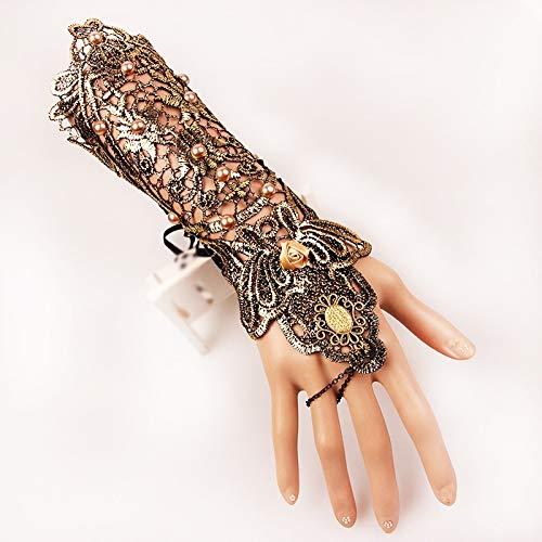 Spitzen Armband Steampunk Slave Armband Ring Armband Skid Resistant Handschuhe Goth Halloween Hochzeit Zubehör 1 Paar (Color : ()