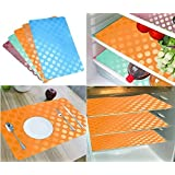 Khushi Creation Refrigerator Mats/Fridge Mats/ Multi Purpose Mats/Drawer Mats/Place Mats Set Of 6 Pcs (Multi) Coin Design (FRDM29)