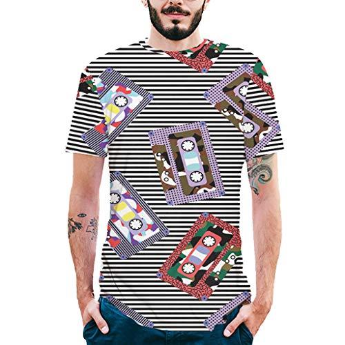 BURFLY2019 Mode Herren O-Kragen Tinte 3D Druck T-Shirt horizontal gestreiftes Hemd Kurzarm Hemd Hemd -