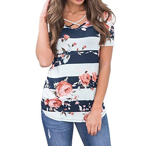 BURFLY Damen T-Shirt Sommer, Mode Frauen Kurzarm Floral Gestreiften Sommer Sexy Casual Bluse Top T-Shirts (S, Blau) (Rock-star-damen-pink T-shirt)