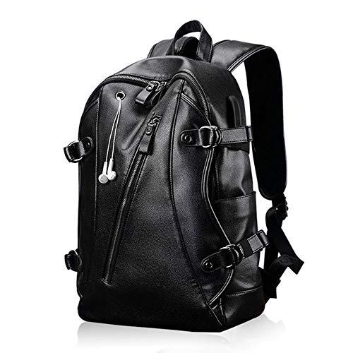 G&L Laptoprucksack Schulrucksack Rucksack Herren Rucksack Pu Leder Rucksack Laptop Rucksack Backpack Daypack Mit USB Kabel Und Ladeanschluss,geeignet Für 15,6 Wasserdicht Laptop Rucksack,schwarz