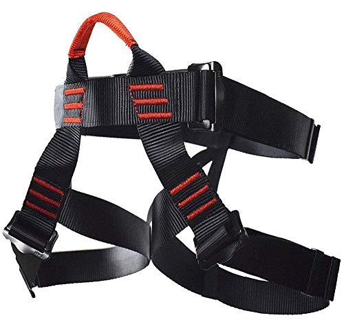 Newdoar Klettergeschirr, für Damen und Herren, halber Körper, sicherer Sicherheitsgurt, für Bergsteigen, Klettern, Rappelling-Ausrüstung, Schwarz