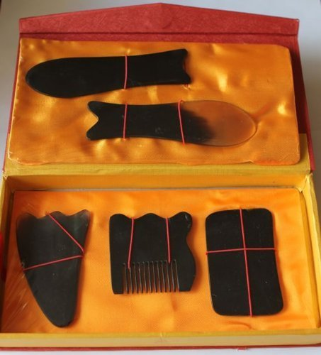 ???????????? Natural Water Buffalo Horn Gua Sha (Guasha) Skin Scraping Board Set??€?pcs (Random Color: Color May Beige Clear, Black or Beige Clear to Black) by Unknown