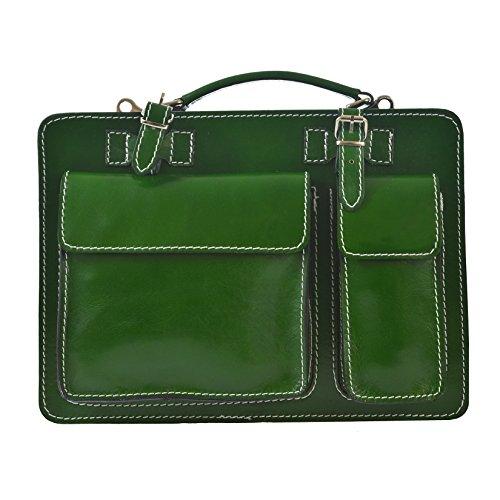 CTM Unisex sac d'affaires, serviette, organisateur en cuir véritable italien fabriqué en Italie D7006 - 35x25x12 Cm