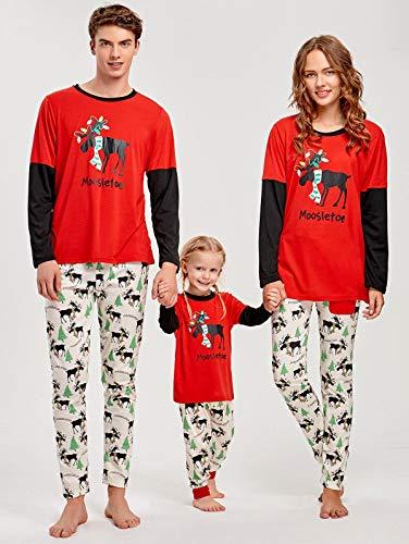XYQB Familien-Weihnachtspyjamas Schlafanzug-Set für Rentiere Schlafanzug aus Baumwolle,Kids,S