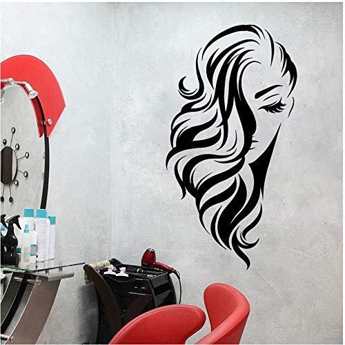 Salón De Belleza Dama Pared Ventana Peluquería Peinado Peinado Peluqueros Etiqueta Vinilo Decoración Poster Puerta De Cristal Cita Calcomanía Extraíble Mural 56X30cm